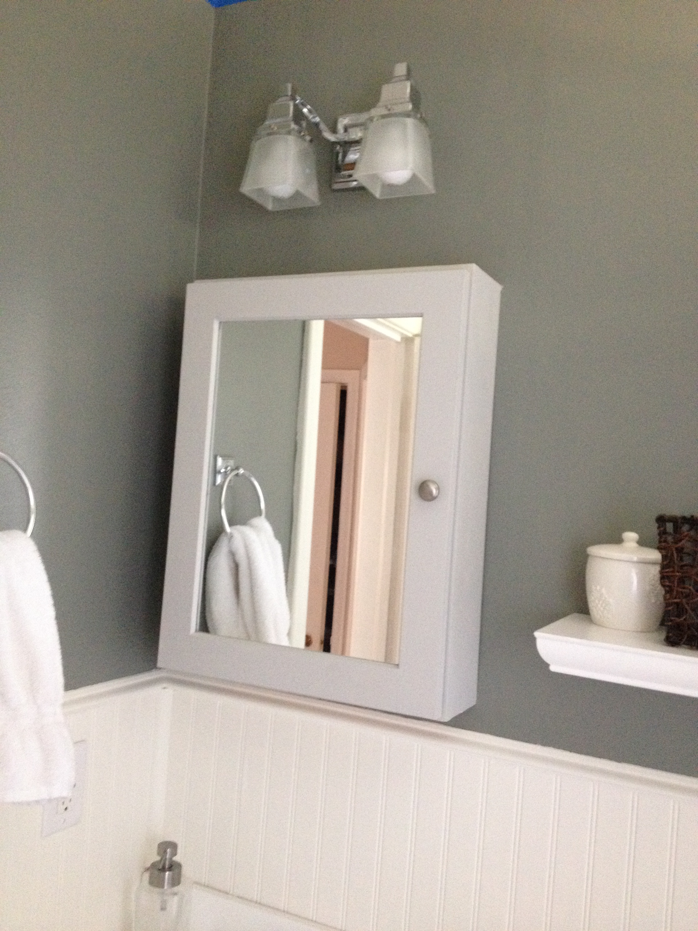 I painted the new cabinet the same gray as the vanity and the walls are Cos  Cob Stonewall by Benjamin Moore  Our bathroom now fits with the rest of the. Bathroom   Interiors by Kelley Lively