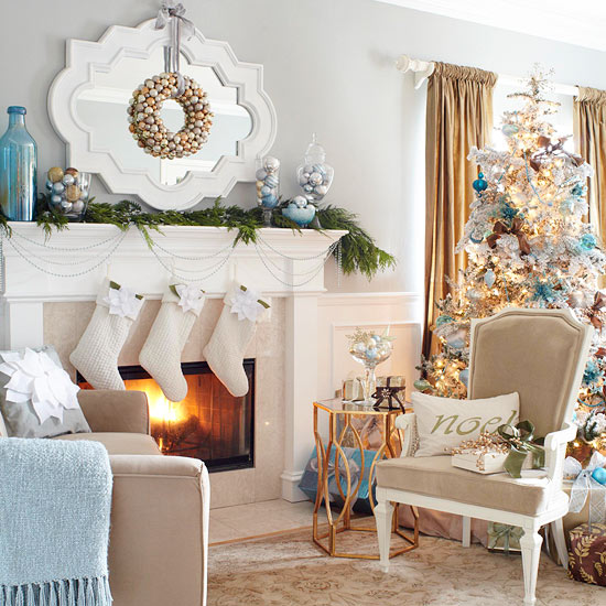 Blues and Neutrals Christmas Decor