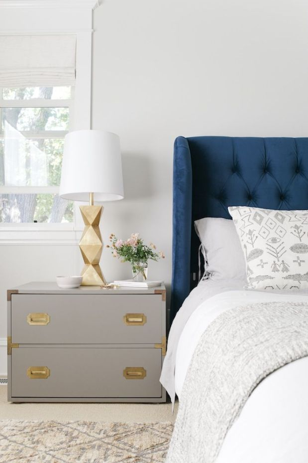 White and Blue Bedroom via Emily Henderson _ Interiors by Kelley Lively