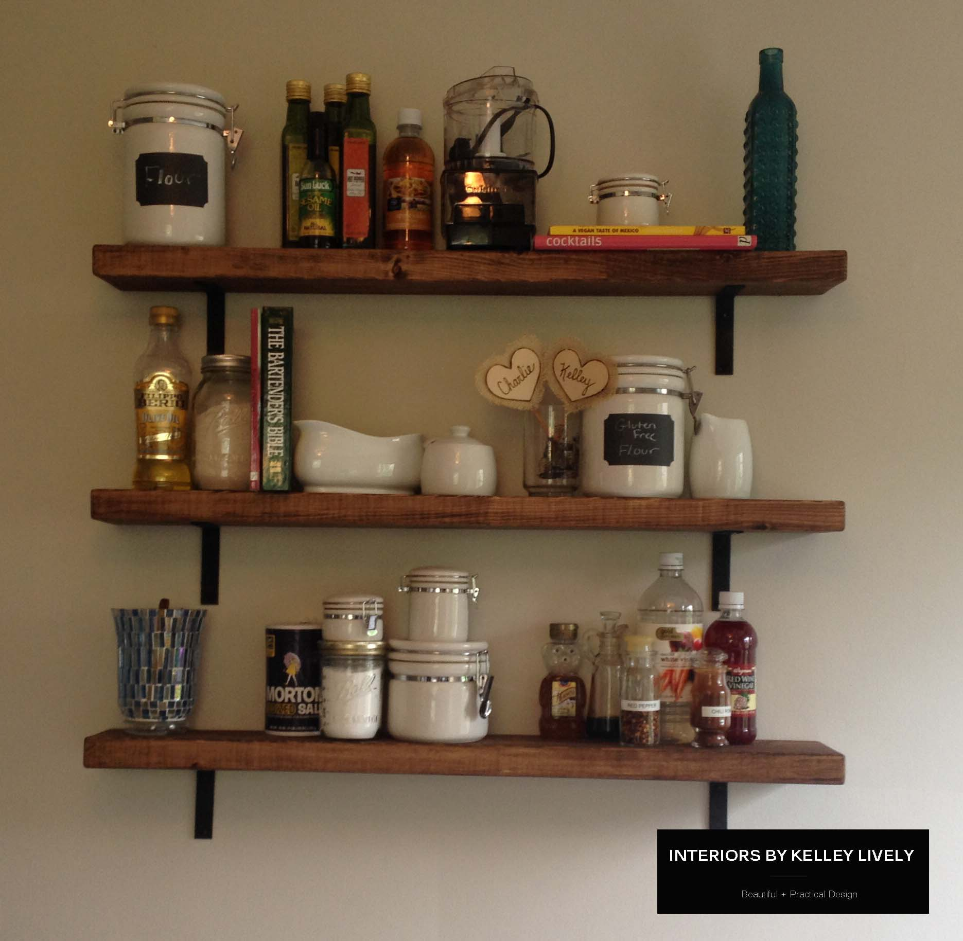 Diy rustic kitchen shelves interiors by kelley lively for Kitchen shelf